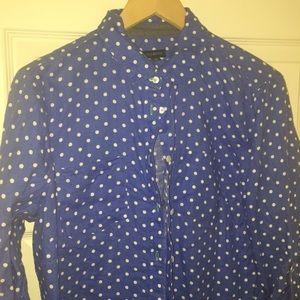 Bright blue linen Polk dot shirt